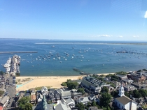 Provincetown MA and the very tip of Cape Cod taken from Pilgrim Monument