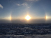Prudhoe Bay Alaska Tundra in the winter ice crystals form what they call Gods Eye in that region i was told