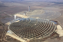 PS and PS solar towers near Seville Spain