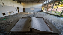 Public Speaking Podium in an abandoned school cafeteria