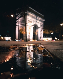 Puddle photography by night in Paris