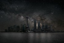 Pudong Shanghai China beneath the Milky Way