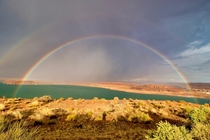 Pulled over in the rain to capture this double rainbow at Lake Powell