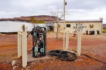 Pump and Cafe at Wittenoom Aust An abandoned town contaminated with blue asbestos