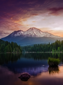 Purple skies abound as the sun prepares to peek over Mt Shasta California Photo by Micah Burke