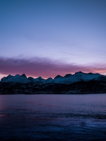 Purple skies in the Arctic - Mountains at Salstraumen Norway