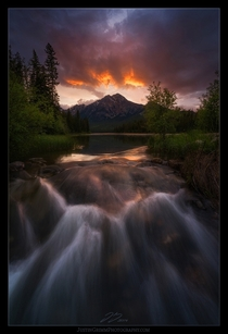 Pyramid Lake in Jasper Canada -  Stoke the Flames by Justin Grimm