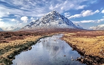 Pyramid Mountain - Scotlands Buachaille Etive Mr reflects in the River Etive at the head of Glencoe  x