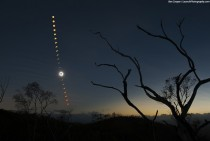 Queensland Australias total solar eclipse captured as series of  exposures sequence begins near the horizon