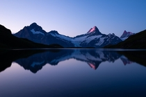 Quiet sunrise reflection in Bachalpsee Switzerland