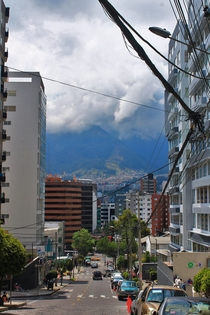 Quito Ecuador a cramped city reaching into the clouds of a volcano