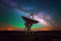 Radio-telescope with the Milky Way in the background