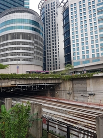 Rail tracks going below some buildings in Kuala Lumpur