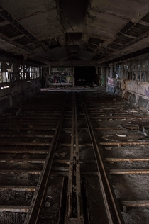 Rail tracks used for mass production in an old abandoned automotive plant Detroit Mi