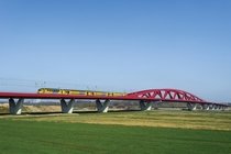 Railway bridge over the river IJssel near Zwolle Netherlands completed in