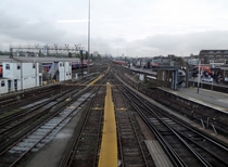 Railway lines at Clapham Junction railway station UK