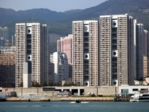 Railway station public housing and ferry pier Tsuen Wan Hong Kong