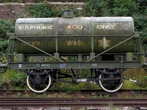 Railway tank wagon for carrying sulphuric acid in Bristol UK  x