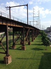 Railway viaduct carrying SEPTA regional rail tracks just south of th St Stn Philadelphia PA