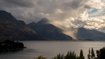 Rain across the lake in Queenstown New Zealand