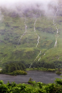 Rain all day today turned the highlands of Scotland into a wild waterfall adventure