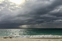 Rain approaches seven mile beach on Grand Cayman
