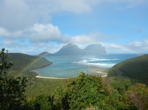 Rainbow across the island seen from near the summit of Mt Eliza Lord Howe Island Australia