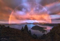 Rainbow and Lightning over Crater Lake Oregon Spellbound by Mark Metternich