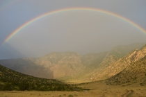 Rainbow at Sunrise - Clarks Fork Canyon WY