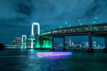 Rainbow Bridge over the Sumida River Tokyo Bay - Japan