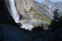 Rainbow in the spray Yosemite Falls