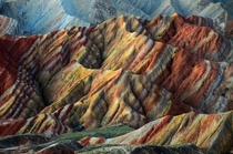 Rainbow Mountains In Chinas Danxia Landform from Getty Images