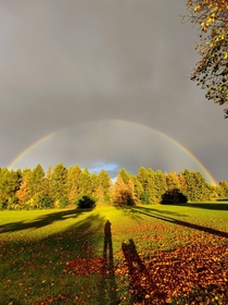 Rainbow on a fall evening millbrook Ontario  x