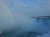 Rainbow over Icy Niagara Falls Ontario Canada January
