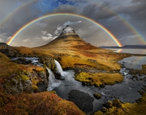 Rainbow over Kirkjufell - Kirkjufell Mountain Iceland  photo by Peter Hammer
