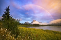 Rainbow over Mt Rundle Banff  x