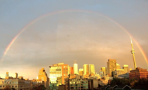 Rainbow over the city of Toronto last night while World Pride celebrations rage on below