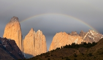 Rainbow over Torres del Paine Chile  by Richard McManus