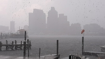 Rainstorm over Baltimore Harbor Maryland