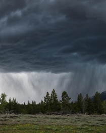 Rainstorm passing through Grand Teton