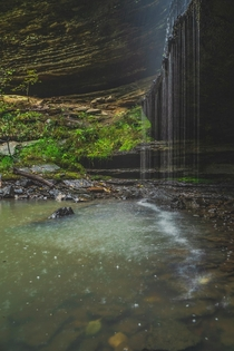Rainy day under a waterfall in the Arkansas Ozarks