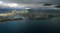 Rainy Honolulu from plane