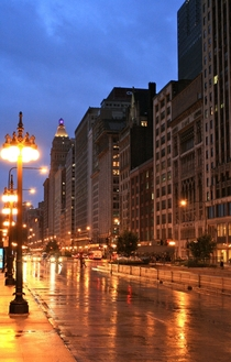 Rainy Michigan Ave in Chicago