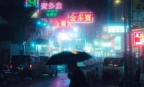 Rainy night in neon-lit Hong Kong