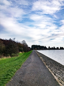 Ramparts forming Clatto reservoir Dundee Scotland
