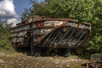 Rare desirable - and so rusty its probably past saving - a DUKW in a breakers yard on the redundant RAF Folkingham airbase