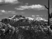 Rare shot of snow on the peaks of the Superstition Mountains in Arizona