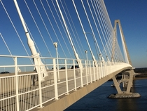 Ravenel Bridge third-longest cable-stayed bridge in the western hemisphere from slightly before middle of the span - Charleston SC