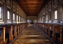 Reading Room of the Laurentian Library Biblioteca Medicea Laurenziana Florence Italy Designed and built by Michelangelo in -