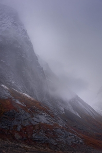 Really Tall Stormy Cliffs on Baffin Island Canada OC